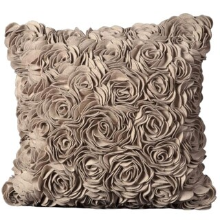 Mina Victory Beige Wool Felt Floral 20 x 20-inch Decoraltive Pillow by Nourison