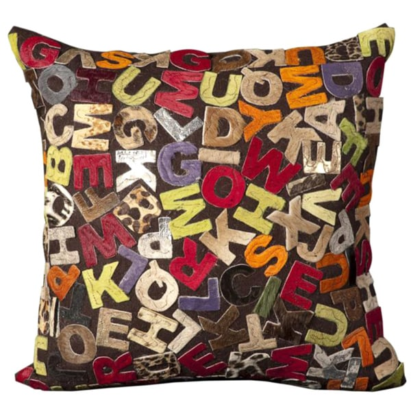 Mina Victory Natural Leather and Hide Alphabet Multicolor Throw Pillow (18-inch x 18-inch) by Nourison