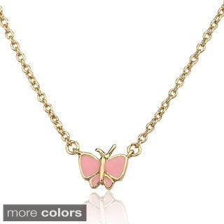 Little Miss Twin Stars 14k Gold Overlay Children's Enamel Butterfly Necklace