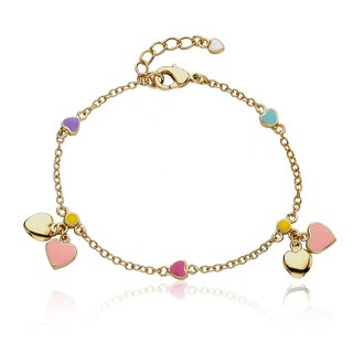 Little Miss Twin Stars Goldplated Children's Heart Charm Bracelet