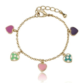 Little Miss Twin Stars Enamel-Inlay 14k Gold-Plated Children's Heart Charm Bracelet