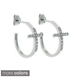 Eternally Haute Sterling Silver Cubic Zirconia Pave Cross Earrings