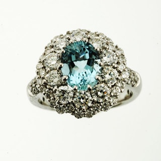 Sonia Bitton 14k Gold Aquamarine and 2ct TDW Diamond Ring (G-H, SI1-SI2)