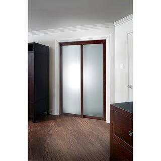 Pinecroft Fusion Frosted Glass Chocolate Frame Sliding Mirror Door