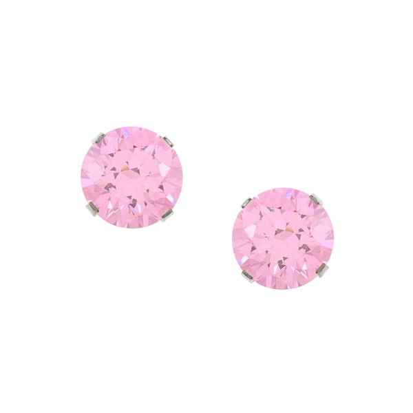 Sunstone Sterling Silver Pink Solitaire Earrings made with Swarovski Zirconia with Gift Box