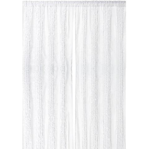 Cottage Home White Ruffled Luxury Cotton 42 x 96 Single Curtain Panel - 42 x 96