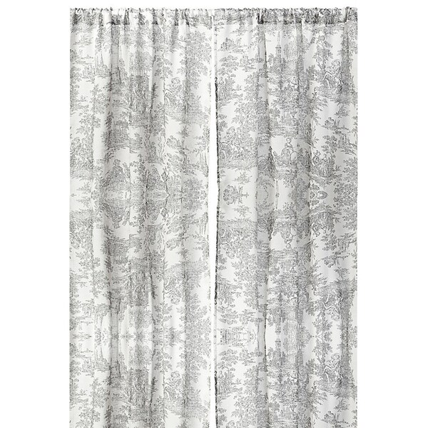 Cottage Home Toile Linen 96 Inch Single Curtain Panel 42 X