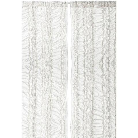 Cottage Home Gray Petite Ruffle Cotton 42 x 96 Single Curtain Panel - 42 x 96