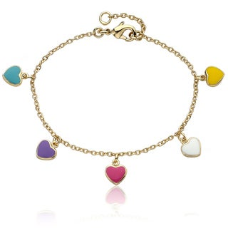 Little Miss Twin Stars High-Polish Gold-Plated Children's Heart Charm Bracelet - Gold