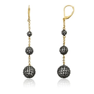 Riccova 14k Gold Overlay and Black-plated Cubic Zirconia Drop Earrings