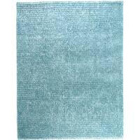 """Hand-tufted Ocean Blue Textured Shag Area Rug - 5' x 7'6"""""""