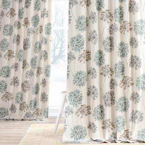 Exclusive Fabrics Allium Blue and Grey Printed Cotton Curtain Panel