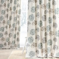 Exclusive Fabrics Allium Blue and Grey Printed Cotton Curtain Panel