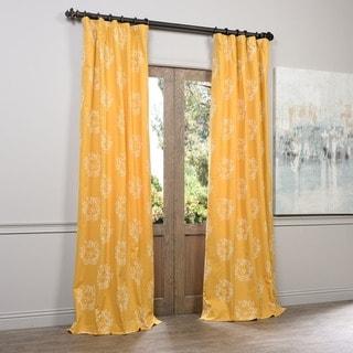 Exclusive Fabrics Isles Mustard Printed Cotton Curtain Panel