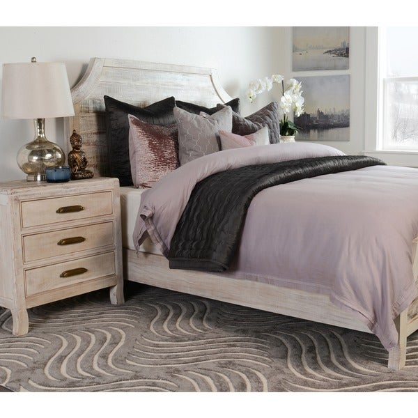 Shop Cosmo Rustic Wood Antique White 3-drawer Nightstand