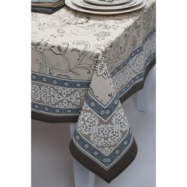 Mahogany Taupe Julia Cotton Tablecloth or Set of 4 Napkins