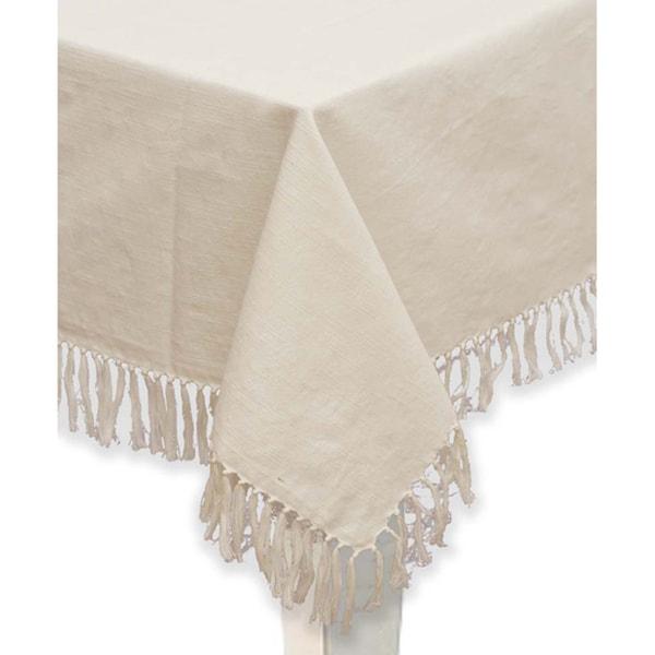 Mahogany Ivory Fringed Cotton Tablecloth or Set of 4 Napkins