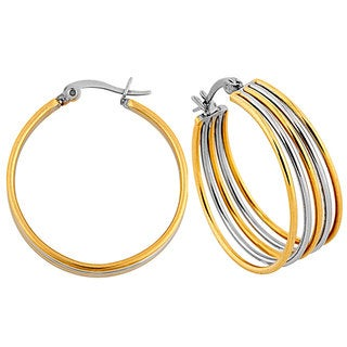 Two-tone Stainless Steel 5-row Hoop Earrings