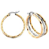 Tri-color Stainless Steel Twist Hoop Earrings