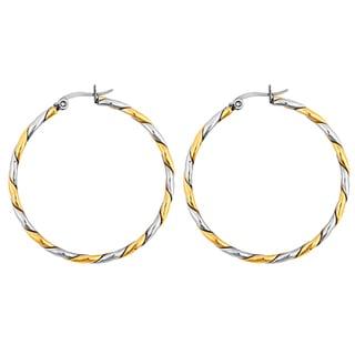 Goldplated Stainless Steel Rope Twist Hoop Earrings