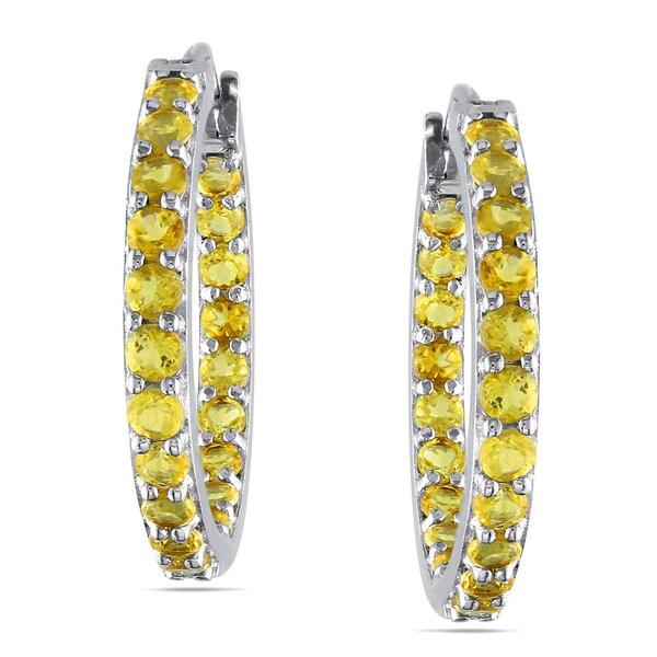 Miadora Sterling Silver Gemstone Inside Outside Hoop Earrings