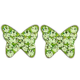 Stainless Steel Colored Cubic Zirconia Butterfly Earrings