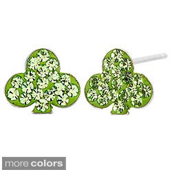 Stainless Steel Colored Cubic Zirconia Clover Earrings