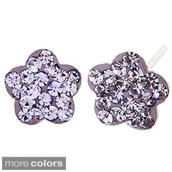 Stainless Steel Colored Cubic Zirconia Flower Earrings