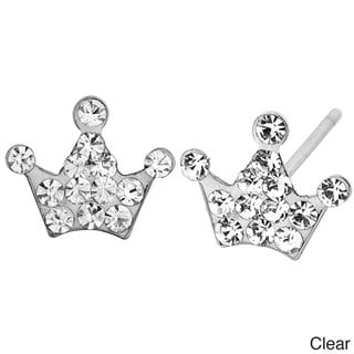 Stainless Steel Colored Cubic Zirconia Crown Earrings