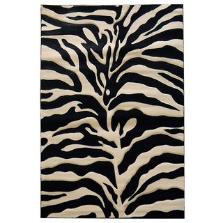 Zebra Print Black/ Beige Area Rug (5' x 7')