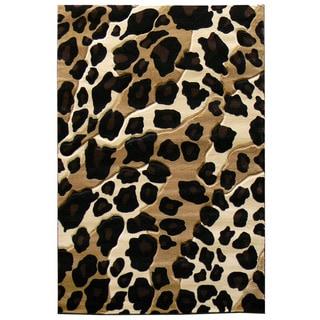 Leopard Print Black/ Beige Area Rug (5' x 7')