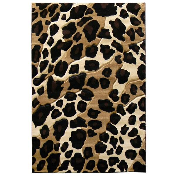 Animal Print Rug Wayfair: Shop Leopard Print Black/ Beige Area Rug (5' X 7')