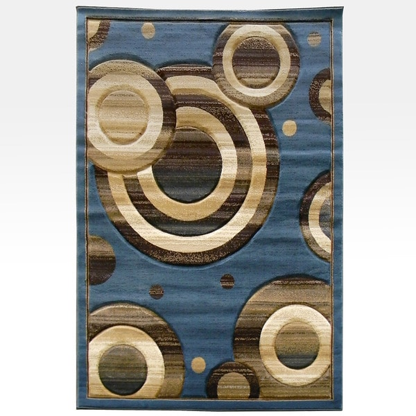 Blue Geometric Circles Area Rug (5' x 7')