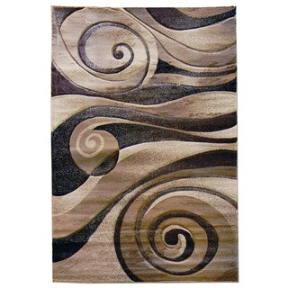 Abstract Swirl Modern Champagne Area Rug (5' x 7')