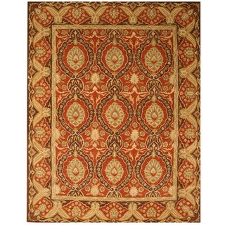 Hand-tufted Wool Red Traditional Oriental Khyber Rug (6' x 9')