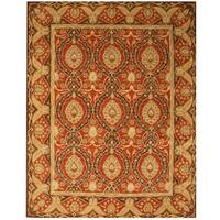 Hand-tufted Wool Red Traditional Oriental Khyber Rug - 6' x 9'