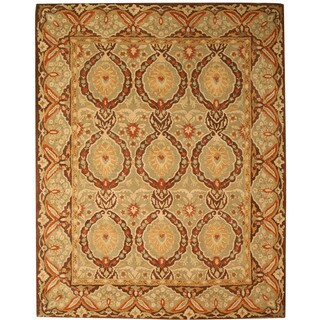 Hand-tufted Wool Green Traditional Oriental Kabul Rug (6' x 9')