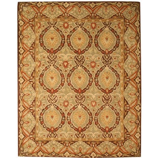 Hand-tufted Wool Green Traditional Oriental Kabul Rug (6' x 9') - 6' x 9'