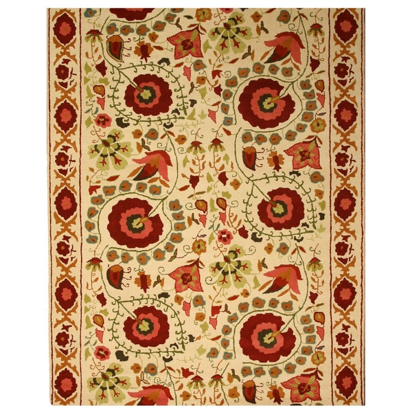 Hand-tufted Wool Ivory Traditional Oriental Ivory Suzanis Rug (7'6 x 9'6)