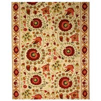 Hand-tufted Wool Ivory Traditional Oriental Ivory Suzanis Rug (5' x 8') - 5' x 8'