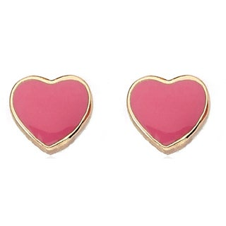 Little Miss Twin Stars 14k Yellow Goldplated Brass Enamel Heart Earrings