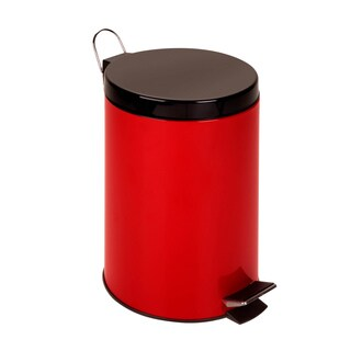Red Metal 12-liter Step Trash Can