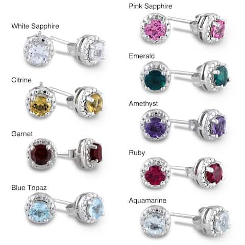 Miadora Sterling Silver Birthstone Earrings