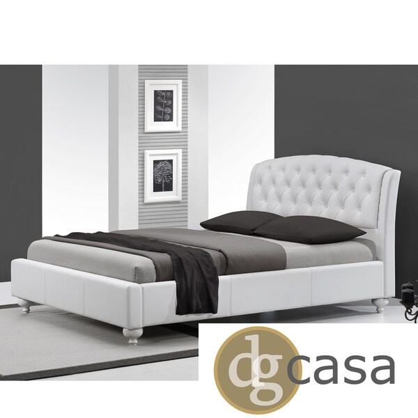 DG Casa Mayfair White Button-tufted Platform Bed