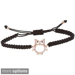 La Preciosa Sterling Silver Cubic Zirconia Owl Macrame Bracelet