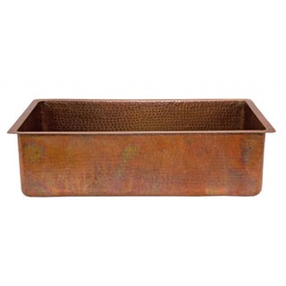 Premier Copper Products Antique Hammered Copper 33-inch Basin Kitchen Sink