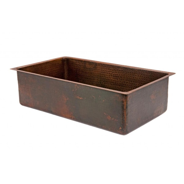 Premier Copper Products Hammered Copper 33-inch Single Basin Kitchen Sink