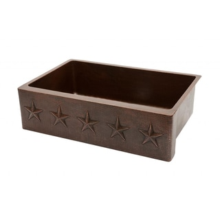 Premier Copper Products Hammered Copper 33-inch Star Apron Kitchen Sink