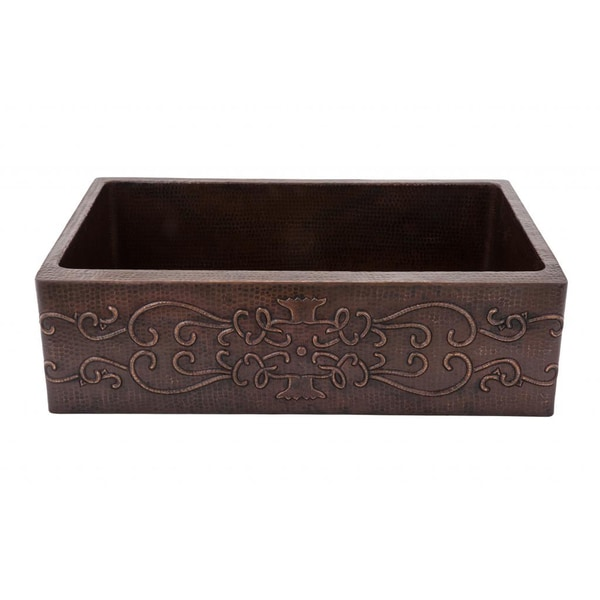 Premier Copper Products Hammered Copper 33-inch Scroll Apron Kitchen Sink