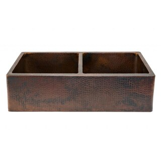Premier Copper Products Hammered Copper 33-inch Apron Double-basin Kitchen Sink